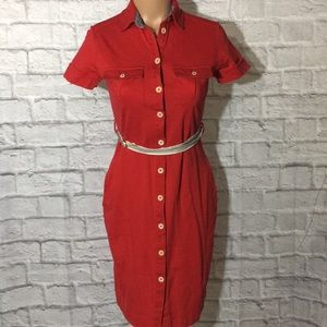 M N G by Mango Red Polo Belted Shirt Dress